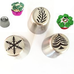 $enCountryForm.capitalKeyWord NZ - 3pcs set Christmas Tree Snowflake Leaf Russian Nozzle Stainless Steel Piping Tips Pastry Nozzles Bakeware Cake Decorating Tools