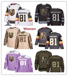 Womens Golden Knights 81 Jonathan Marchessault Хоккейные майки Белый Серый Серый Зеленый Салют 100-й Фиолетовый Бои Рак Камуфляж День ветеранов