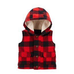 red baby vest UK - Buffalo Check Twill Flannel Vest Autumn plaid hooded baby boys vest fleece baby boy clothes