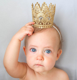 Wholesale Babies' Crown Birthday Party Hats Baby Hat Party Golden Crown For Kids Headband Shower Photo Props Decoration