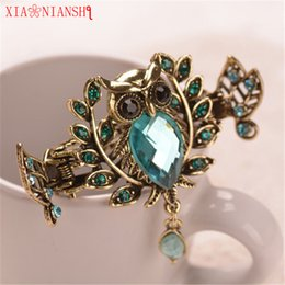 Wholesale Charm Gold Color Metal Owl Hair Jewelry Top Crystal Stone Crab Claw Clip Vintage Hair Clip Accessories Gift For Women Girls
