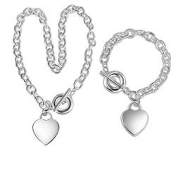 51dc0aec2d81 Precio más bajo Regalo de Navidad 925 Collar de Plata + Conjunto de Pulsera  Joyería de Declaración de Boda Corazón Colgante Colgante Brazalete Sets 2  en 1