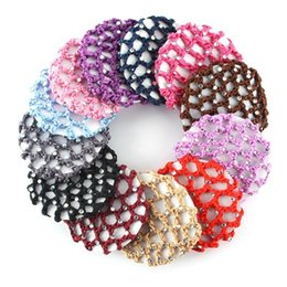 Crochet Snood Hair Net Australia - New Hot Beautiful Bun Cover Snood Women Hair Net Ballet Dance Skating Crochet Fanchon Rhinestone