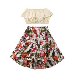 Chinese  2Pcs Set Newborn Kids Baby Girl Party Strapless T Shirt Short tops Floral Skirt Outfits Girls Clothes manufacturers