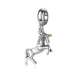 $enCountryForm.capitalKeyWord UK - Fits Pandora Sterling Silver Bracelet Unicorn Dangle Little Horse Beads Charms For European Snake Charm Chain Fashion DIY Jewelry Wholesale