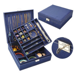 $enCountryForm.capitalKeyWord Canada - wholesale Girls Earring Bracelet Casket For Decor Jewelry Storage Box Wooden Multilayer Flannelette Jewelry Box Makeup Organizer