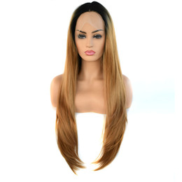 straight blonde wig roots 2019 - Synthetic Lace Front Wig Long Natutral Wave Wigs Black Root Ombre Blonde 2 Tones Color Heat Resistant Fiber For Women ch