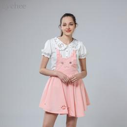 f71f2d8a80f Japanese Lolita Summer Autumn Women Suspender Skirt Cat Embroidery Hollow  Out Princess Kawaii Sleeveless Skirt Suspender Skirt D1891802
