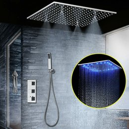 Spa head online shopping - Concealed Thermostatic Shower Set SUS304 Mirror Finished Panel with quot Embedded Ceiling LED Shower Head Rainfall Mist SPA