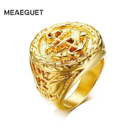 Meaeguet Vintage Eagle Motif Anneau D'ancrage Pour Hommes Hiphop Rock Style Or-couleur En Acier Inoxydable 316L Partie Bijoux en Solde
