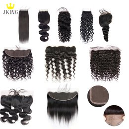 China JKING 100% Unprocessed Brazilian Virgin Hair 4x4 Lace Closure  13x4 Lace Frontal Closure 8-20inch Mixed Style Human Hair Weave Extensions suppliers
