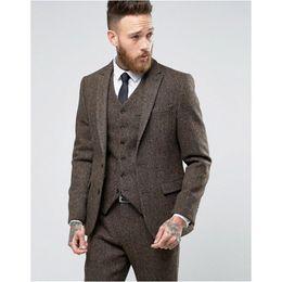 Tweed Pants Canada - New Arrival Two Button Brown tweed Groom Tuxedos Peak Lapel Groomsmen Mens Wedding Business Prom Suits (Jacket+Pants+Vest+Tie) 333