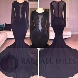 Sheer Black Dress Canada - Sheer Long Sleeves Black Mermaid Prom Dresses 2018 Sexy Illusion Bodices Lace Sequins Long Evening Gowns African Occasion Wear BA8223