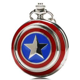 $enCountryForm.capitalKeyWord Australia - Captain America Icon Quartz Pocket Watch Star Pendant Necklace Chain For Men Women Children Chirstmas Gifts Free Shipping P497