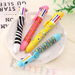 $enCountryForm.capitalKeyWord Australia - 8 color ballpoint pens cute multi-color ballpoint pen multi-function press color oil pen 8 refill Foral gel School supplies