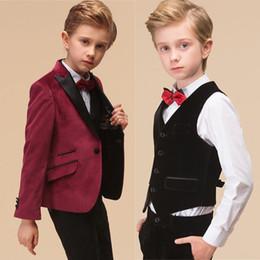 3335a2cfaaf69 Fashion handsome children s suit three-piece suit (coat + pants + jacket) wedding  flower girl dress boy birthday party formal suit dress