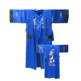 China New Fashion Male Satin Silk Reversible Bathrobe Two-Face Nightwear Embroidery Kimono Gown Wholesale And Retail One Size cheap one sleeve kimono suppliers