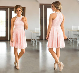 Discount Cheap Short Mini Wedding Dresses Pink Lace Bridesmaid 2018 Country With Pearls Jewel