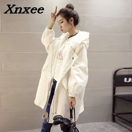 woman white coats outfit 2019 - Women's trench coat loose autumn winter outfit hooded long windbreaker coats female students trench outerwear Xnxee