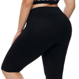 726bfb2ba4 Plus Size Knee Length Leggings Canada - Women Black Plus Size Knee Length  Fitness Yoga Pants