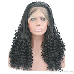 Glueless Wig Braids For Australia - Free Shipping 180% Density Black Handmade Braids Long Curly Wigs with Baby Hair Glueless Heat Resistant Synthetic Lace Front Wigs For Women