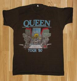 Venta al por mayor de VTG 1980's QUEEN FREDDIE MERCURY 1980 ROCK BAND CONCERT TOUR T SHIRT USA TOP @@ New 2018 Funny Brand Clothing