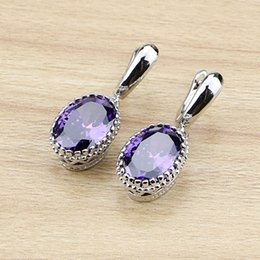 purple chandelier earrings UK - Cheap Drop Earrings Oval Purple Zircon Stones Dangle Earrings Silver Color Jewelry Drop Earring For Women Free Gifts Box