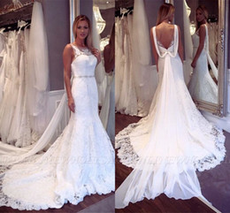 Lace mermaid taiL wedding dresses online shopping - Fairy Stunning White Mermaid Wedding Dresses Sexy Backless Lace Appliques Sweep Train Bridal Gowns With Removable Tail