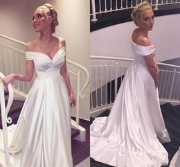 Perfect Ball Gowns NZ - Perfect Off Shoulder Satin White Wedding Dresses Spring Garden Plus Size Ball Custom Vestido de novia Formal Bridal Gown Arabic