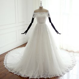 beads sparkle wedding dresses NZ - Ivory Court Train Wedding Dresses Strapless Short Sleeves Lace-up Back Lace Wedding Dresses Sparkling Sash Bridal Gowns Plus Size 2018