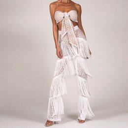 $enCountryForm.capitalKeyWord Canada - Sexy hollow out crop top lace rompers womens jumpsuit Tassel white beach playsuit Summer romper short overalls female