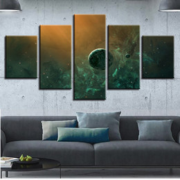 Art Canvas Prints Australia - Canvas Print Poster Home 5 Pieces Universe Planets Nebula Painting Modular Abstract Pictures Cuadros Decor Wall Art Framework