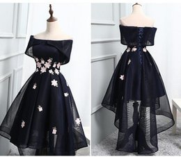 Cute short prom dresses online shopping - Cute Cap Sleeve Navy Blue Homecoming Dresses High Low Net Lace Up Back Cocktail Prom Party Dresses Robe De Retour Graduation Dresses