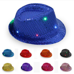 99d0def5e25 LED Glowing Hat Flashes Jazz Sequins Adult Cap Hip Hop Stage Party Props  Performance Luminous Hats
