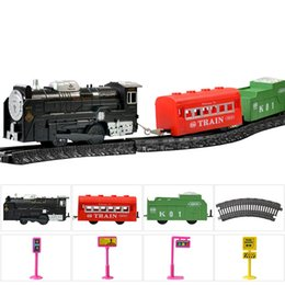 cars toys track 2018 - Assembling Track Cars Diecast Model Car Children Electric Toys Simulation Classical Train Steam Birthday Gift Boy Puzzle