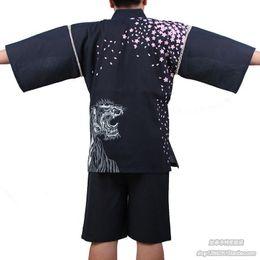 Underwear & Sleepwears Men 100% Cotton Yukata Kimono Suit Men Japanese Traditional Pajamas Set Summer Japanese Style Bathrobe With Shorts 050401 Fast Color Men's Sleep & Lounge
