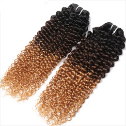curly human hair bundles UK - Brazilian Human Virgin Hair Weft Ombre 1b 4 27 Brown Blonde Kinky Curly Weaves Double Drawn 100g One Bundle