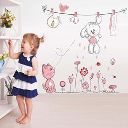 Cartoon Living Rooms For Bears NZ - QUNEXC Pink Cartoon Cat Rabbit Flower Wall Sticker For Baby Girl Kids Rooms Home Decor Teddy Bear Umbrella Classroom Wall Decals