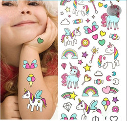 Waterproof temporary fake tattoo stickers pink unicorn horse cartoon design kids child body art make up tools from fringe earrings manufacturers