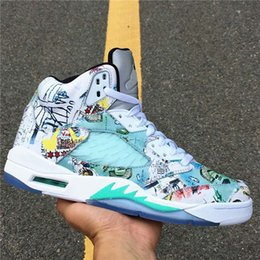 de01075ccc13 2019 Basketball Shoes 5s Wings Painting Green Magic Designer Noctilucence  Mens Sports Sneakers With Double Boxed