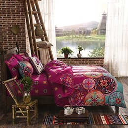 Discount boho bedding - National Style Recto Prune Reversible Duvet Cover with Pillow Sham Boho Mandala Bedding Set