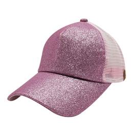 Hats Ponytails UK - Glitter Ponytail Baseball Cap For Women Summer Sports Mesh  Hats Messy Bun e78526480f85