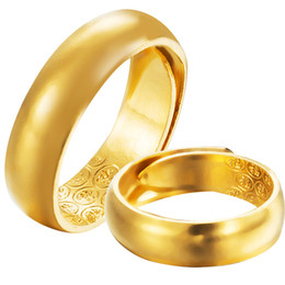 18K Gold Plated Wedding Rings 5mm 6mm 7mm Lovers Band Couple Love Ring for Women Men Adjustable