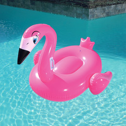 $enCountryForm.capitalKeyWord NZ - 53inch Inflatable Prey Pink Flamingo Rider For Girls Kids Swimming Pool Float Water Fun Toys Ride-on Beach Maress
