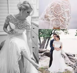 Discount white pearl beach - 2017 Spring Stunning Bateau Neck Short Sleeves Beading Crystal Lace Wedding Dresses Sheer Tulle Floor Length Country Sty