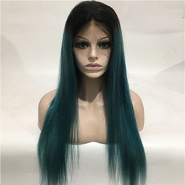 blue black lace wig NZ - 1B Blue Pre Plucked Full Lace Wigs With Baby Hair Silky Straight Brazilian Virgin Ombre Lace Front Human Hair Wigs For Black Women