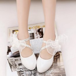 $enCountryForm.capitalKeyWord UK - Boutique Girl Princess High Heels Party shoes Children's Shoes 2018 New Spring Autumn Fathion Big Pearl Flower Girl PU Leather Shoes