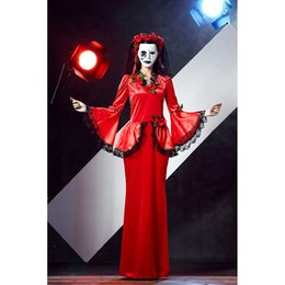 Hot Sexy Halloween Vampire Cosplay Costumes Sets Red Dress Ghost Bride  Costume For Adult Women Scary Party Wear A413081 a7840940e7dc