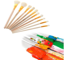 Free Kids Craft UK - Brushes Set for Art Painting Oil Acrylic Watercolor Drawing Craft DIY Kid Paint Brushes Painting Supplies 10Pcs free shipping 2018 new hot