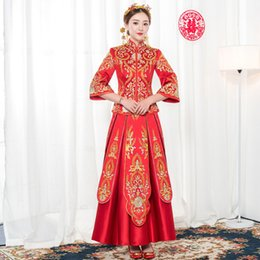 f3c40576c Red SuZhou Embroidery Asian Bride Wedding Dress Gown Female Qipao Noble Han  Fu Clothing Suit Chinese Ancient Floral Cheongsam